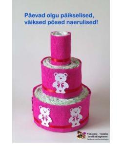 3-kihiline roosa mähkmetort mõmmidega